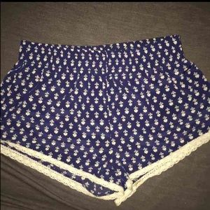 Navy blue lace shorts