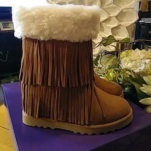 Hidden Wedge Heel Fringed Boots