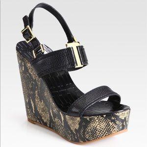 Tory Burch Shoes - Tory Burch Slingback Snake-Skin Wedges