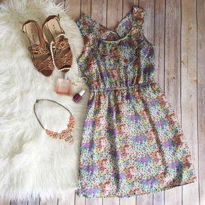 Lush Dresses & Skirts - Lush multi colored floral sundress open back