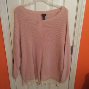 Rue21 Sweaters - Pink Sweater with Lace Trim