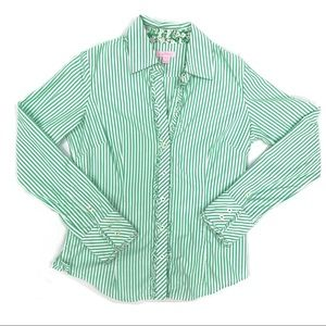 LILLY PULITZER Green White Striped Button Down Top