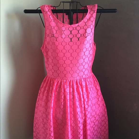 Hm Hot Pink High Low Lace Summer Dress