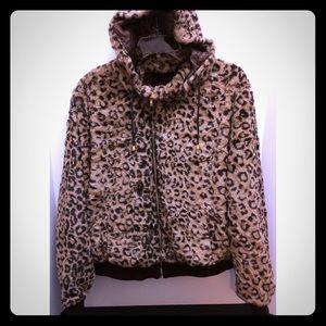 Yoki Jackets & Blazers - Plus Size Leopard Print Faux Fur Jacket
