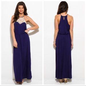 Dresses & Skirts - DEEP SALE💖Crochet Panel Halter Maxi Sun Dress