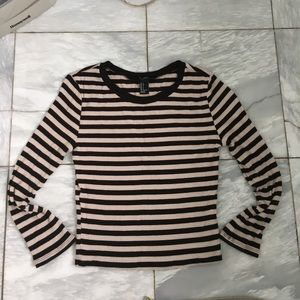 A striped, long sleeved crop top