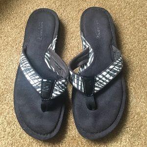 Sperry Shoes - Sperry Black Zebra Sequin Flip Flops