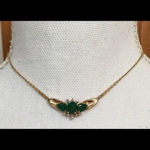 Jewelry - Nissko Vintage 14K Emerald And Diamond Pendant