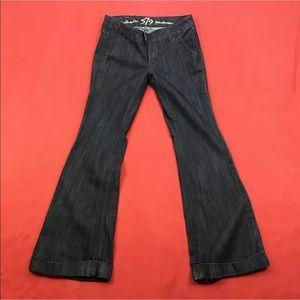 """Authentic 579 Jeanswear Denim - Blue Flare Cuffed Jeans 🦋 33"""" Inseam"""