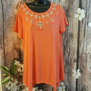 Jeweled plus size blouse