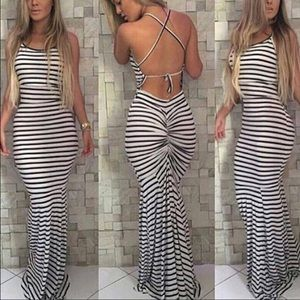 Dresses & Skirts - Black/white stripe maxi dress DRC116*