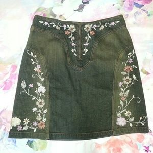 Apostrophe Dresses & Skirts - Floral Embroidered Knee Length Denim Skirt