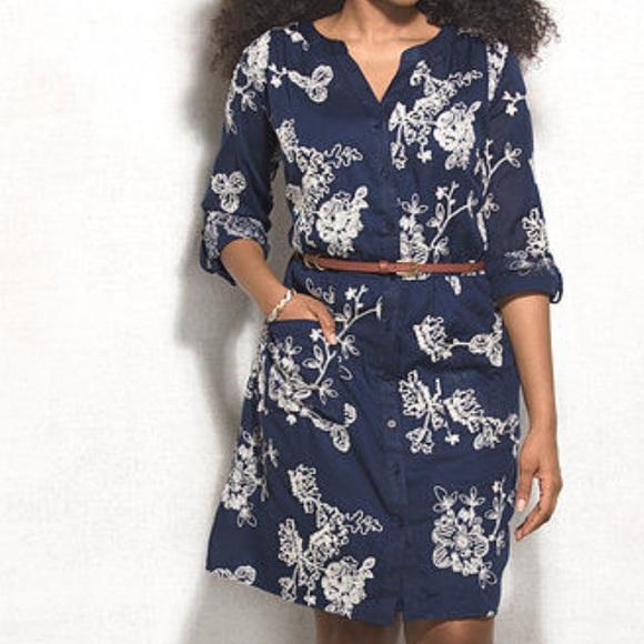 41fb2d7d89 Embroidered floral belted dress