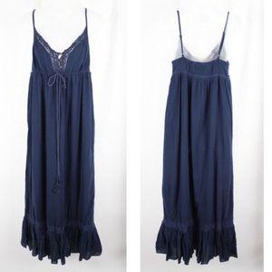 Lucky Brand Navy Ruffled Boho Chic Maxi Dress