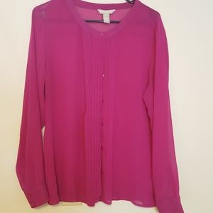 Banana Republic purple magenta sheer blouse