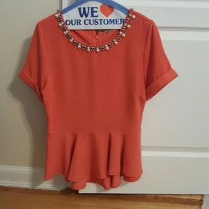 Darling Tops - Darling coral color jeweled neck peplum top