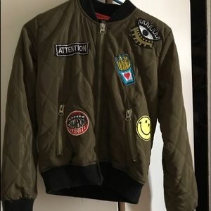 Vivacouture Jackets & Blazers - Army Green Bomber Jacket With Patches