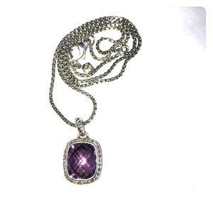 David Yurman Amethyst Diamond Necklace w/ Chain