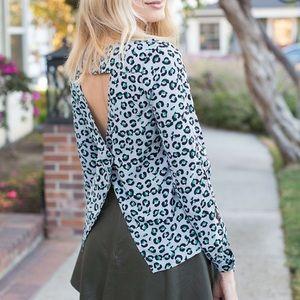 Cooper & Ella Tops - Leopard Print Cutout Crossback Blouse