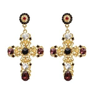 Ashlee Natalia Jewelry - Crystal Cross Drop Earrings