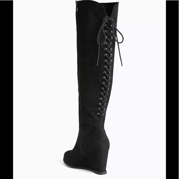 ade4da2056f WIDE CALF lace up wedge boots *knee high*
