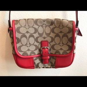 Coach Red and Brown Crossbody