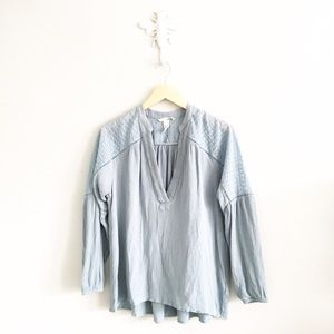 H&M Tops - H&M Blue Embroidered Peasant Top Long Sleeve