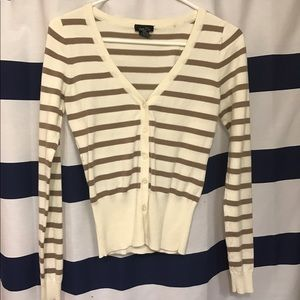 Brown and Cream Striped Cardigan