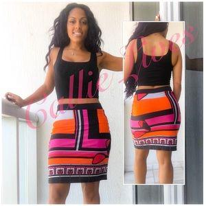 analili Dresses & Skirts - Analili Color Block Pencil Skirt Orange Pink Black