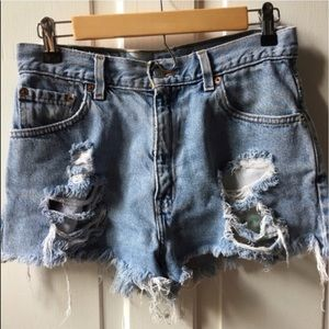 Levi's Pants - Destroyed Levi's high waisted denim shorts