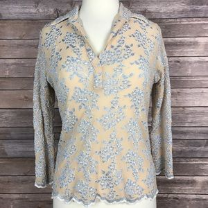 Soft Surroundings Tops - {Soft Surroundings} Floral Embroidered Blouse Top