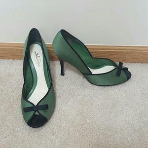 Lela Rose Shoes - Lela Rose Olive Green Black Bow Pin-Up High Heels