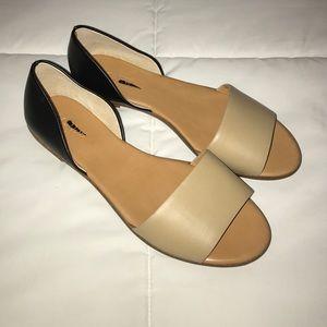 J. Crew Shoes - J. Crew Factory Morgan Leather Peep Toe Flats
