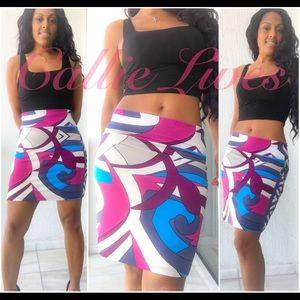 analili Dresses & Skirts - Analili Skirt Geo Swirl Blue Magenta Purple Ivory