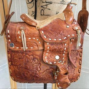 Handbags - Cowgirls Rule Leather Hand-tooled Crossbody Purse