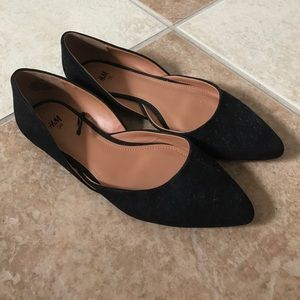 H&M Faux Suede Pointed Toe Flats