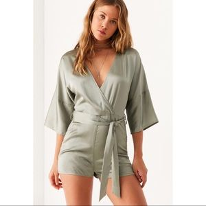 Urban Outfitters Pants - Six Crisp Days Light Green Satin Surplice Romper