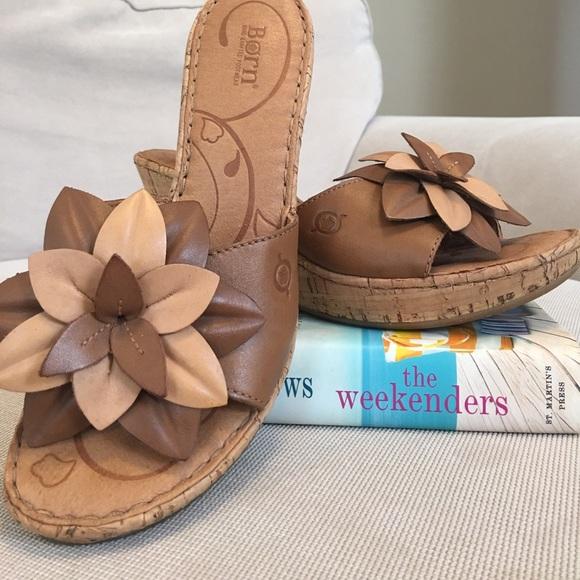 08f688f0298 Born Shoes - 🔅Born🔅 Grazia Tan Leather Flower Cork Wedge