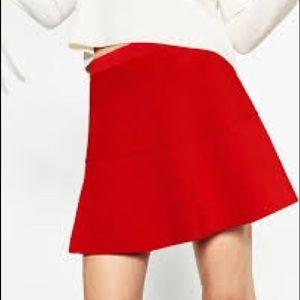 Zara Stretch Knit Red A-Line Skirt