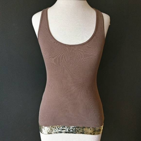 Express Tops - EXPRESS Brown Pima Cotton Tank w Gold Sequins