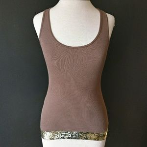 EXPRESS Brown Pima Cotton Tank w Gold Sequins