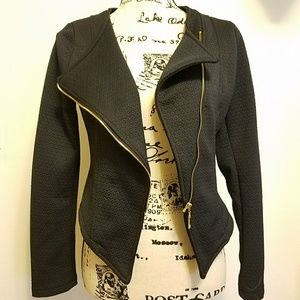 Jackets & Blazers - Asymmetrical Textured Zip Blazer