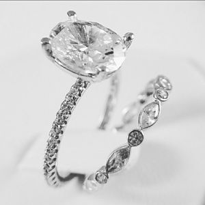 Jewelry - 14k Solid White Gold Engagement Ring&Wedding Band