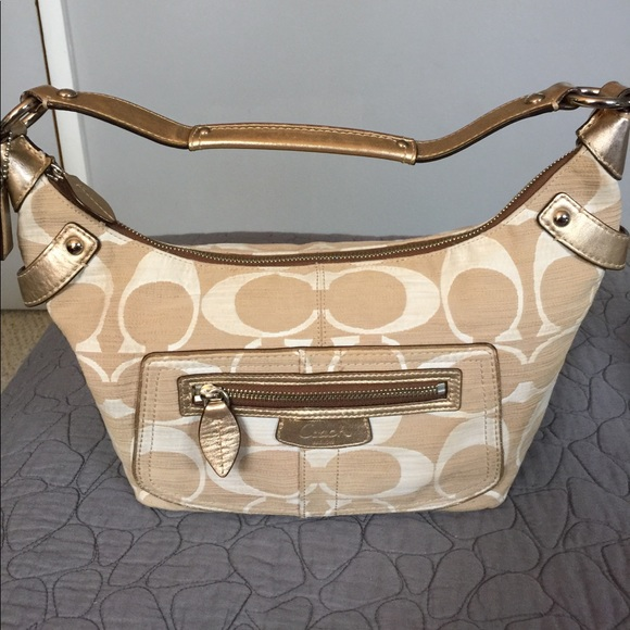 ed558368de2 Coach Bags   Signature Gold Leather And Canvas Hobo Bag   Poshmark