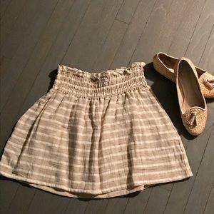 Hatch Dresses & Skirts - HATCH cream tan striped rayon flax skirt