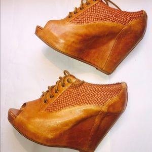 Cooperative Shoes - Platform Weaved Peek-Boo Toe Shoes