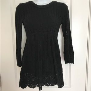 Tops - Crotchet Black Princess Style Tunic 3/4 Sleeve SM