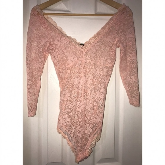 Tops - 3/4 sleeve pink lace bodysuit
