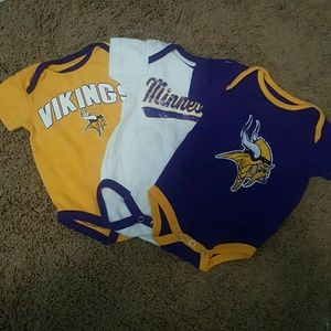 Other - 3 Minnesota Vikings 3-6 month body suits
