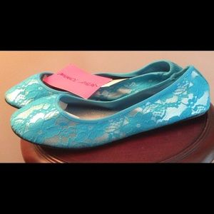 Betsey Johnson Shoes - NWT Betsey Johnson Blue Lace Shoes Ballerinas
